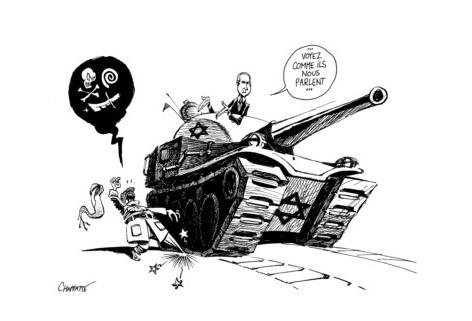 """Dialogue israélo-palestinien Dessin de Chappatte """"Globalement positif"""", Le Temps Editions"""